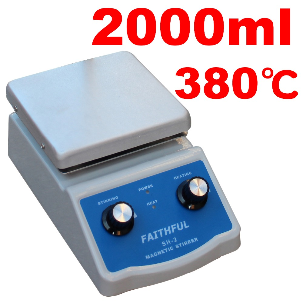 SH-2 Laboratory Magnetic Stirrer With Heating 2L, 100~2000RPM, 220V/110V ,With Support Pole and Magnetic Stir Bars free shipping ptfe stir rod for overhead stirrer