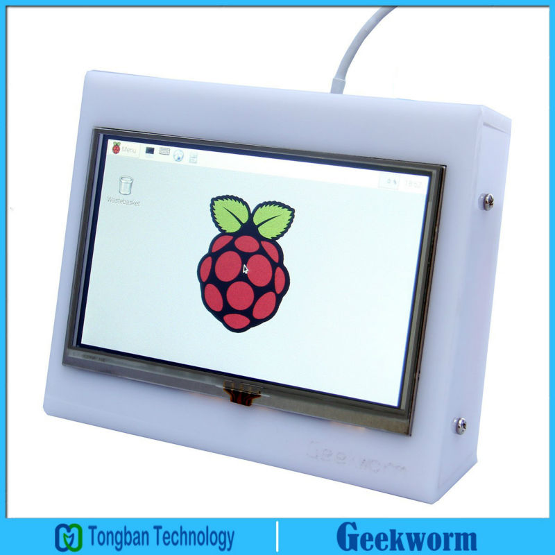 Prix pour 5 pouce 800x480 Framboise Pi 3 LCD Tactile Écran 5 pouces HDMI TFT Bouclier D'affichage Moniteur avec Acrylique Cas pour Raspberry Pi 3/2B