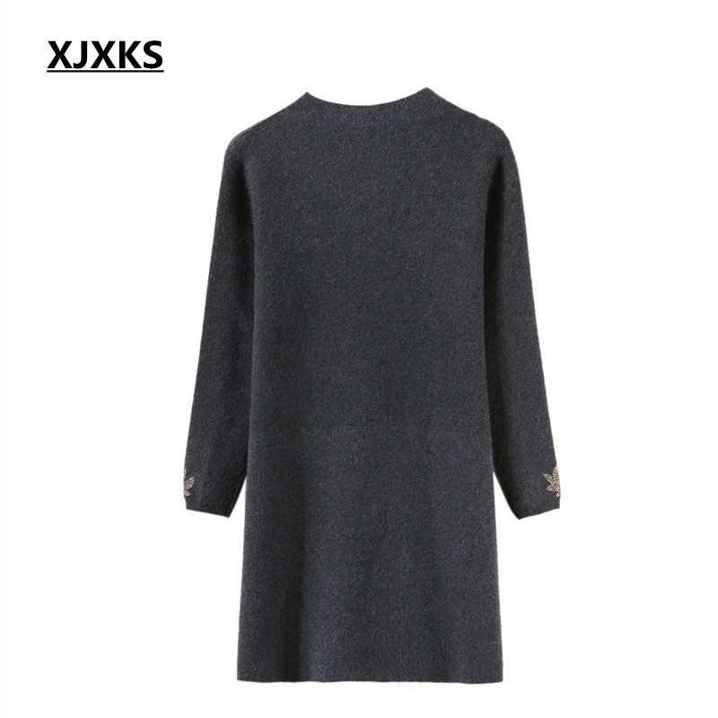 Xjxks 가을 2018 중년 여성 긴 스웨터 봄과 겨울 스웨터 여성 긴 풀오버 두꺼운 니트 스웨터 드레스