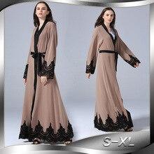 2018 модные женские туфли мусульманское платье вышивка Исламской Арабская Турецкая халат мусульмане Дубай платье плюс Размеры 5XL коричневые Абаи платье