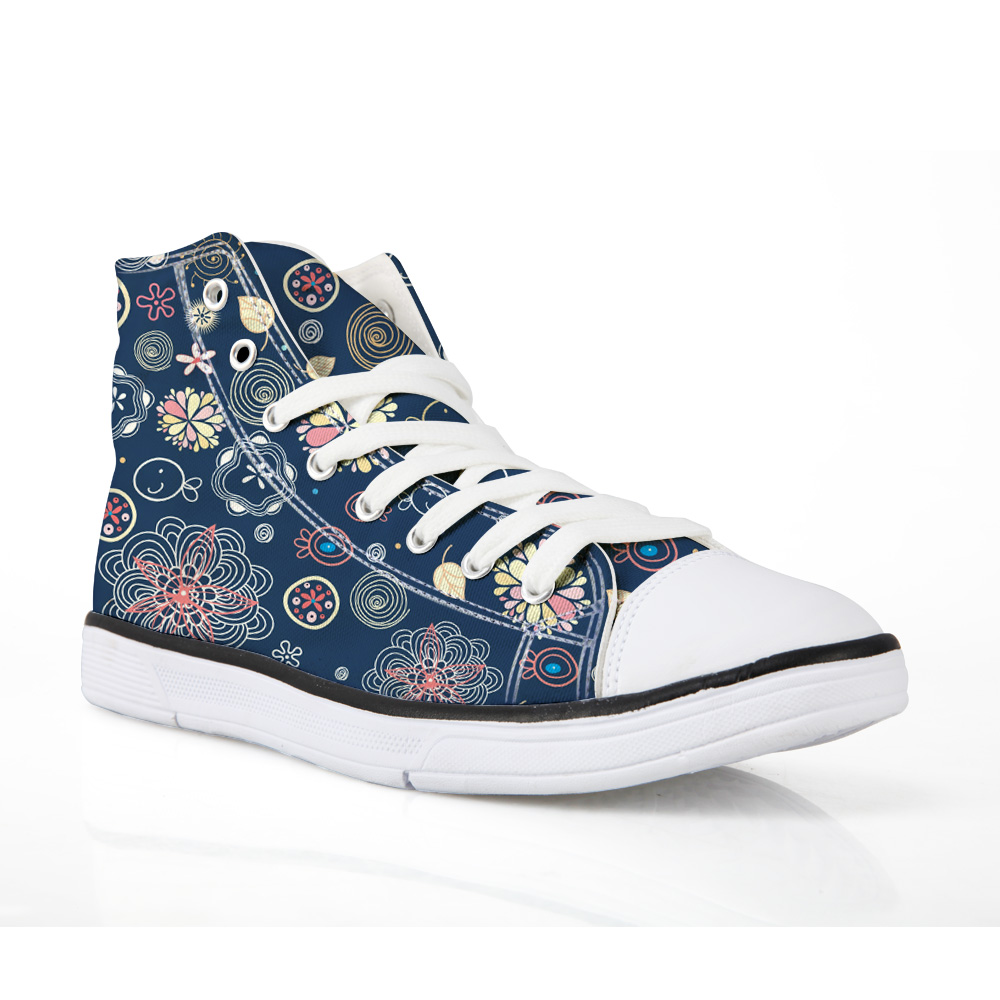 NOISYDESINGS Spring Floral Print Shoes Blue Canvas Shoes Blue Big Size Women Casual Flats Loafers Women Sneakers shose