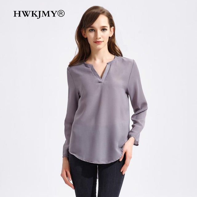 ff64c03515ef6 HWKJMY Women Shirt Classic Solid Color Blouse Woman V-neck Chiffon Long  Sleeves Casual Female Top Plus Size XS-5XL