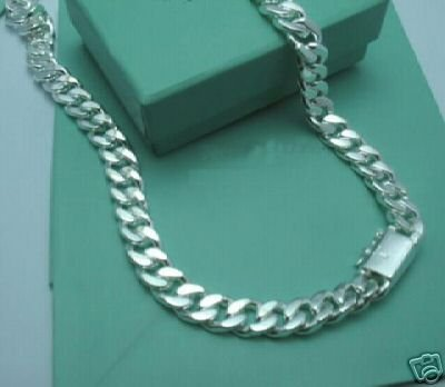 wholesale  high quality Silver plated 10mm necklace for men 20inch ,silver plated men's chain necklace
