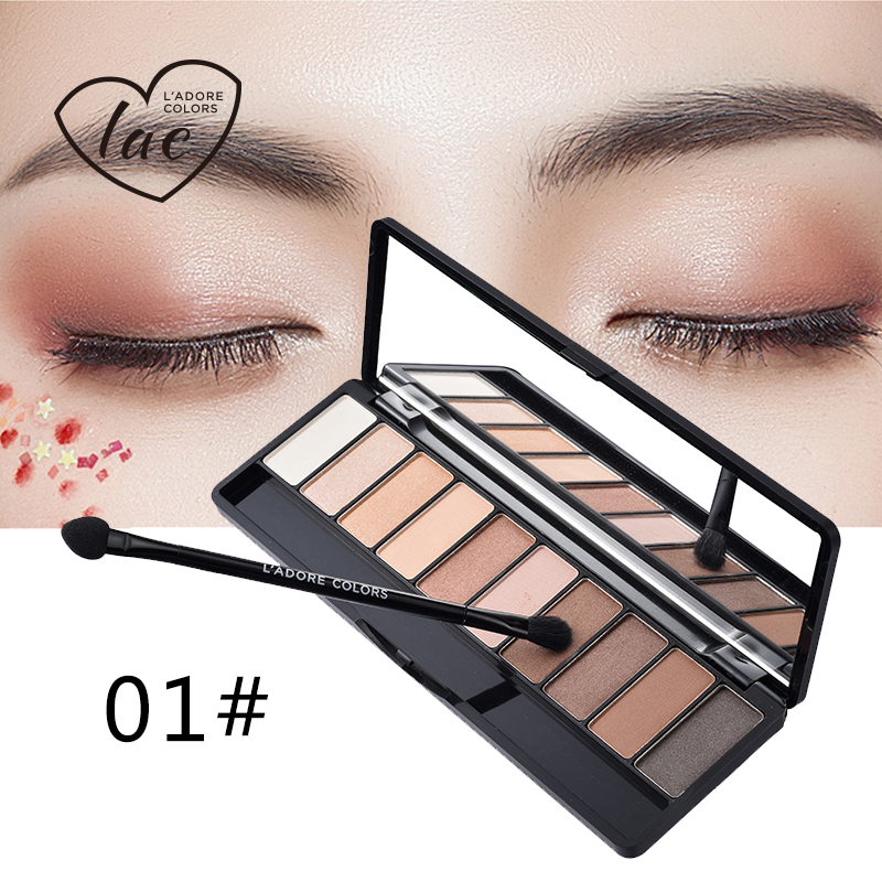 LAC Eyeshadow Shimmer Or Matte Eyeshadow Makeup Palette Long Lasting Eye Shadow Natural Eyeshadow With Brush 10 Colors