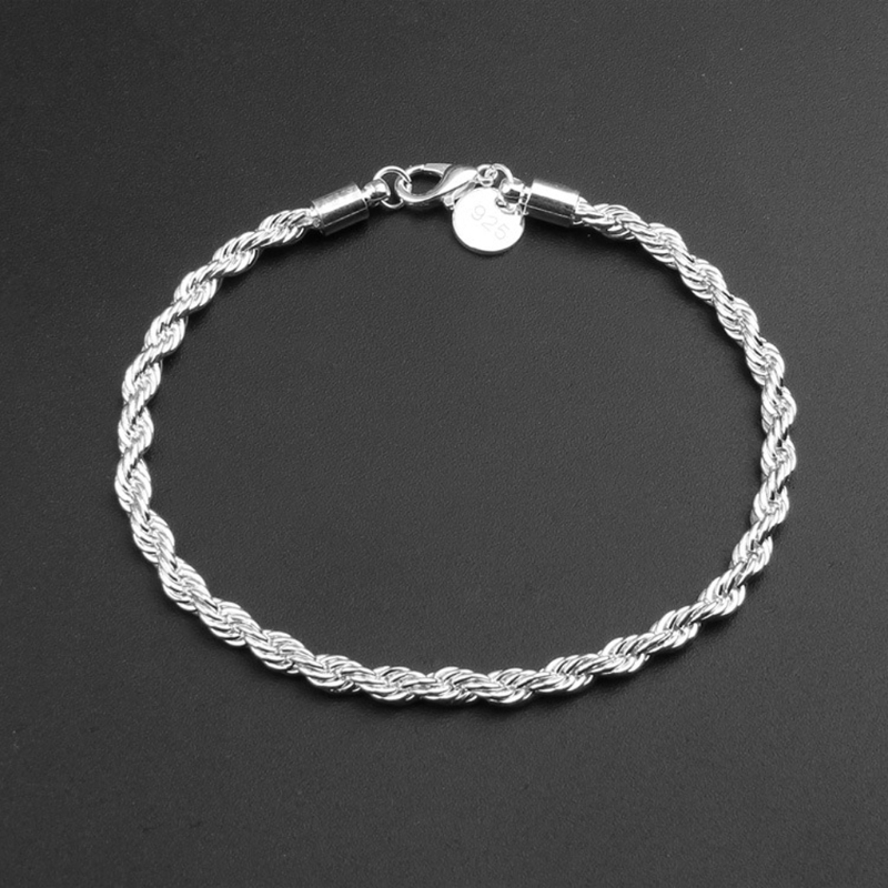4MM Stainless Steel Twist Rope Chain Bracelets Men Women Sliver Plated Jewelry