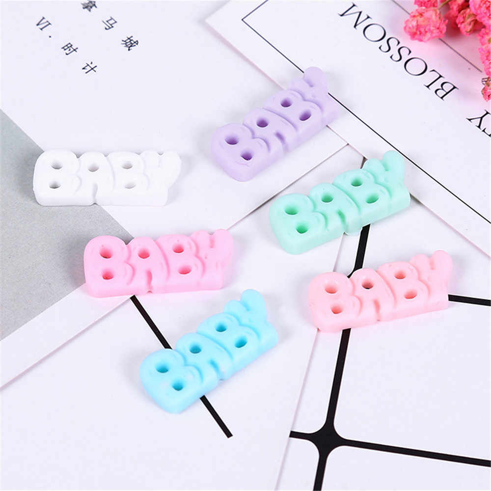 10pcs  Baby Letter Resin Flat back Cabochons for Phone Decoration, Scrapbooking DIY Cute Child Jewelry Wholesale DIY Accessries