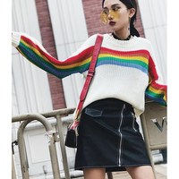 Women S Harajuku Retro Personal Style Rainbow Stripe Patchwork Loose Sweater Slender Wild Female Korean Kawaii