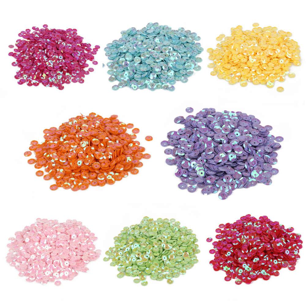 1200 pçs/saco DIY Handmade Colorido Lantejoulas 6mm Paillettes Redondas Casamento Artesanato Decorativos Acessórios de Vestuário De Tecido De Costura