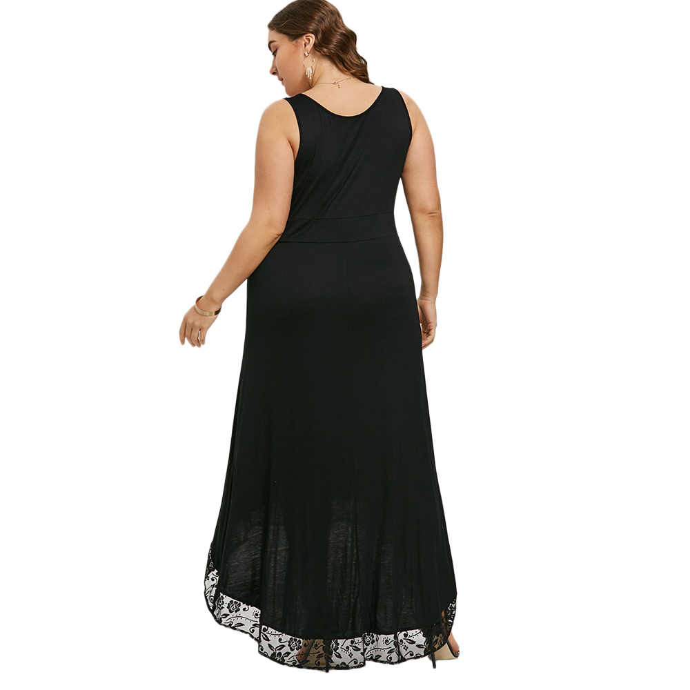 2019 Gamiss Plus Size High Low Maxi Dress Women Sleeveless Black ... 4359d385c0e3