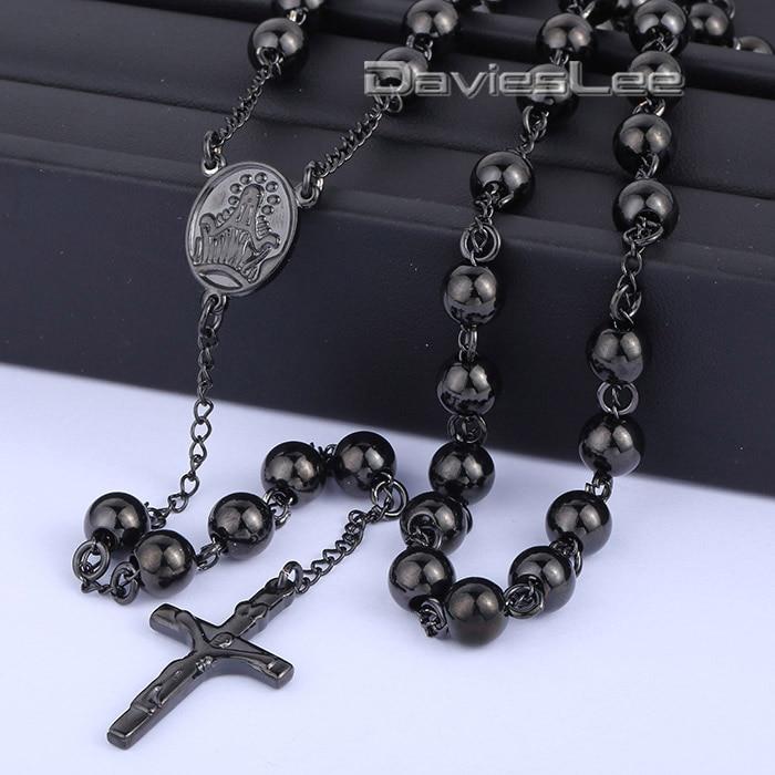 Davieslee 4 6 8 10mm Mens Black Chain Stainless Steel Bead Chain Rosary Jesus Christ Cross