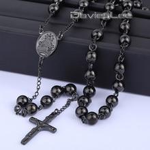 Davieslee 4/6/8/10mm Mens Cadena de Cadena Del Grano Del Acero Inoxidable Negro Rosario Jesús Cristo Cruz colgante Largo DLKN375-377 Necklacce