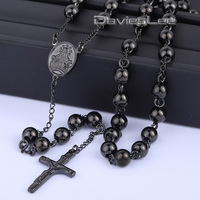 4 6 8mm Mens Chain Black Tone Stainless Steel Bead Chain Rosary Jesus Christ Cross Pendant