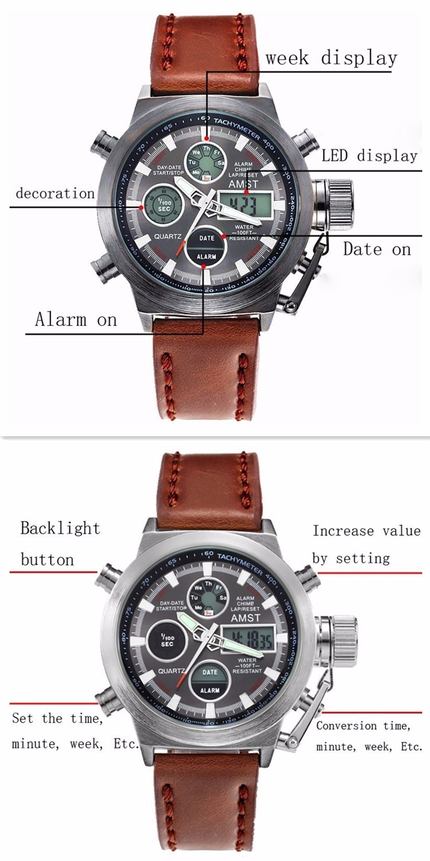 AMST Military Watches Dive 50M Nylon&Leather Strap LED Watches Men Top Brand Luxury Quartz Watch reloj hombre Relogio Masculino 11