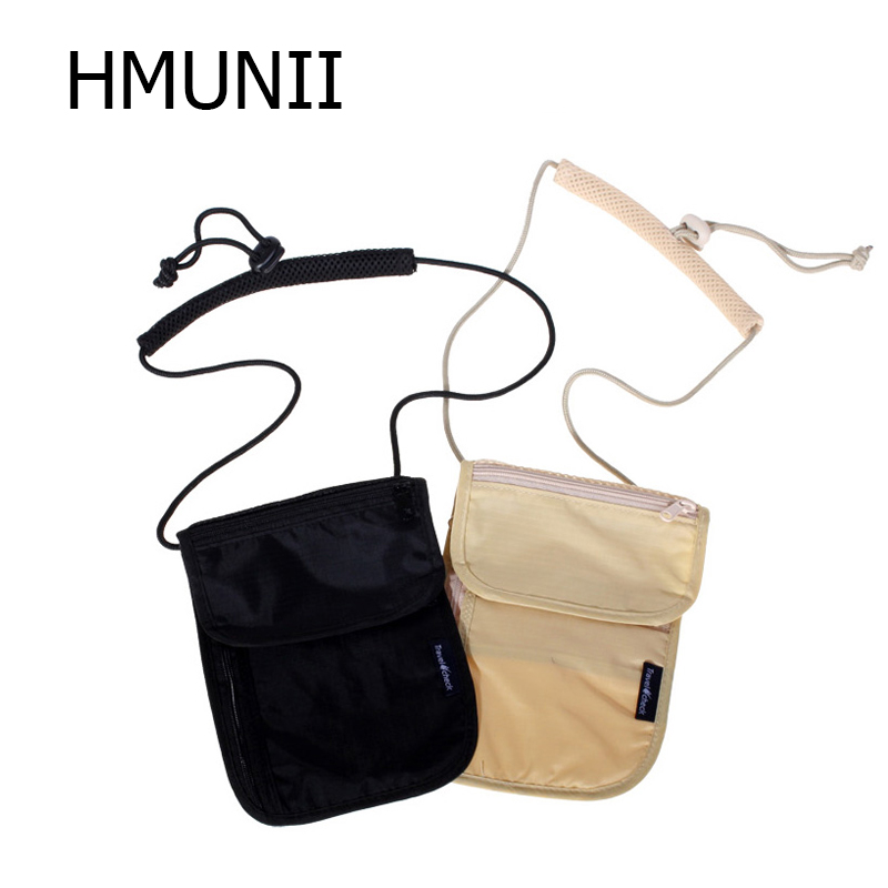 HMUNII Women Messenger Passport Cover Travel Wallet Men Travel leisure hanging neck wallet security anti-theft package