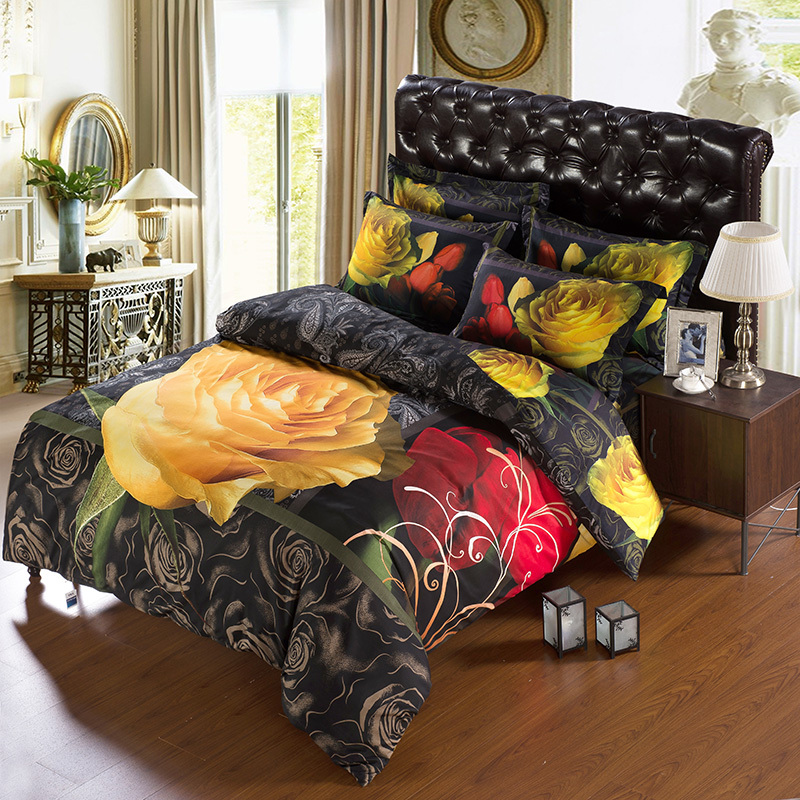 4 Pcs Modern Unique 3d Floral Animal Print Bedding Sets