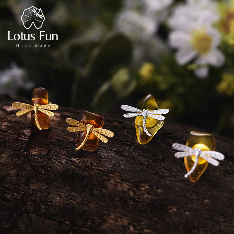 Lotus Fun Real 925 Sterling Silver Natural Amber Original Handmade Fine Jewelry Cute Dragonfly Stud Earrings for Women Brincos dragonfly in amber