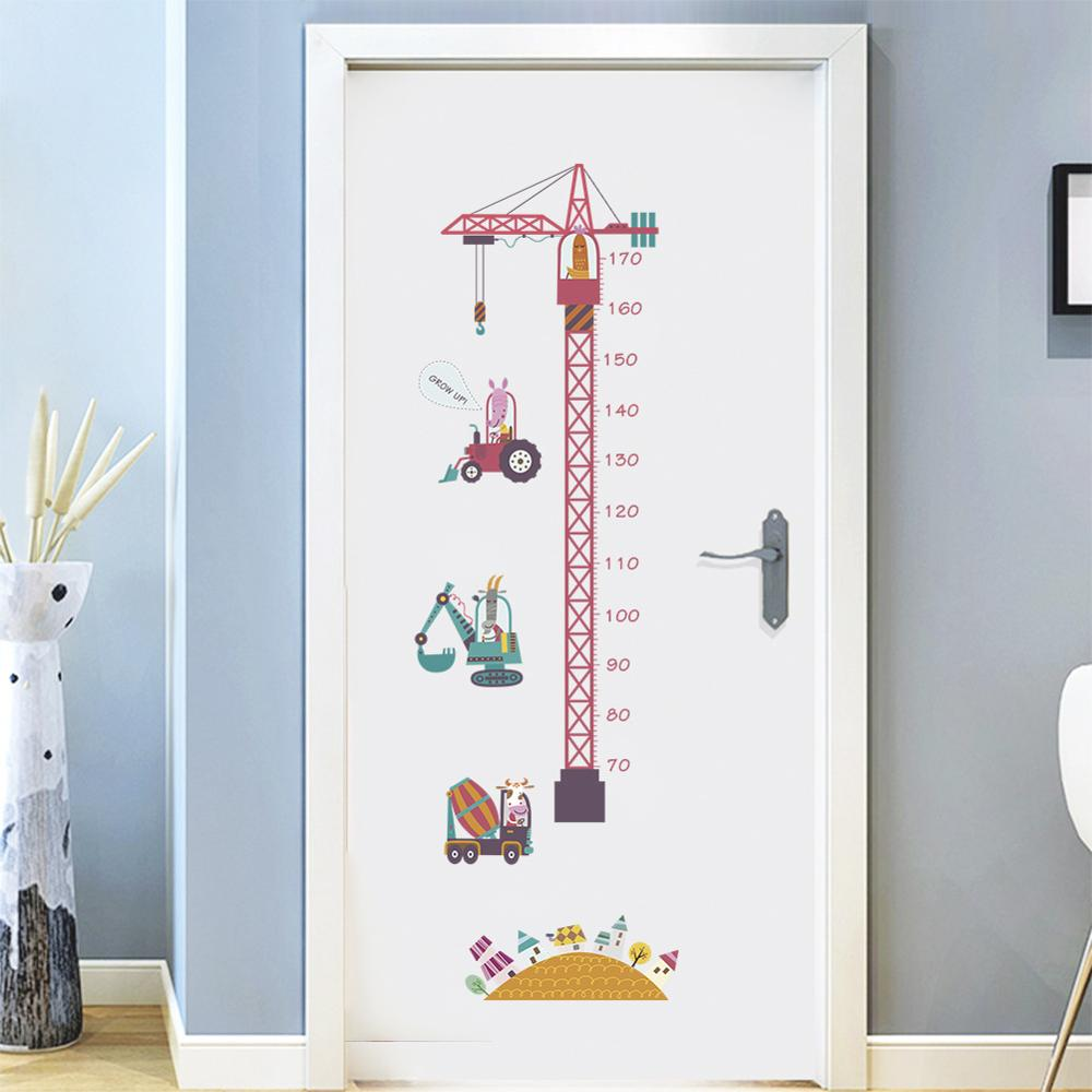 Self-adhesive Height Measuring Ruler Growth Chart Animal Cartoon Tower Crane Children Room Decor