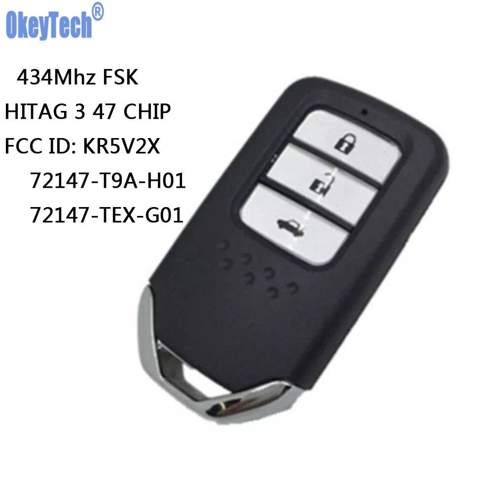 OkeyTech clé de voiture à distance carte à puce 434Mhz avec NCF2951X HITAG 3 47 puce KR5V2X 2 boutons pour Honda City Jazz Civic Grace 2015