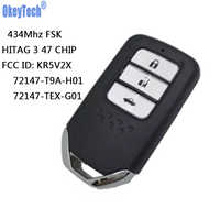 OkeyTech Smart Card Remote Car Key 434Mhz With NCF2951X HITAG 3 47 CHIP KR5V2X 2 Buttons For Honda City Jazz Civic Grace 2015
