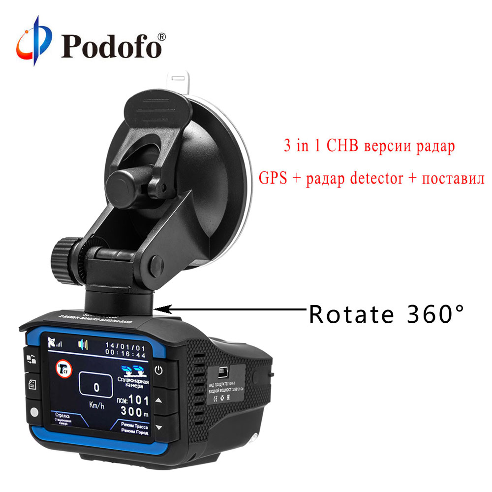 Podofo Car DVR Radar Detector 3 in 1 GPS Tracker Car DVR Camera Video Recorder Russian Anti Radar Dash Cam Electronic Dog цена