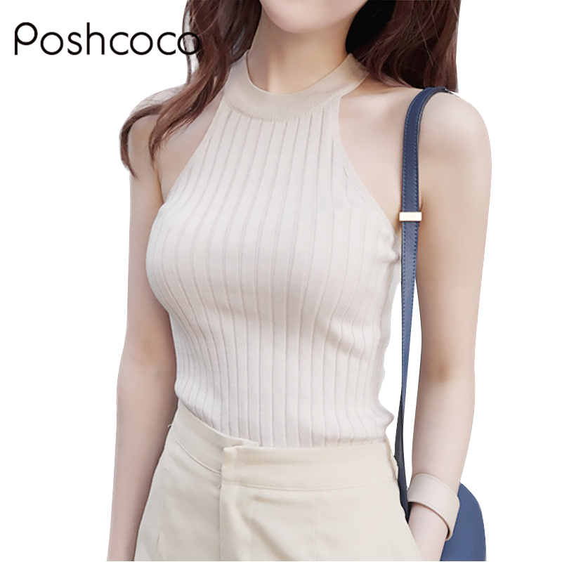 Hot Sale Crop Top Women 2017 Halter Top Cropped Debardeur Femme Knitted Blouses Cotton Vest Womens Off Shoulder Sexy Tops Tees