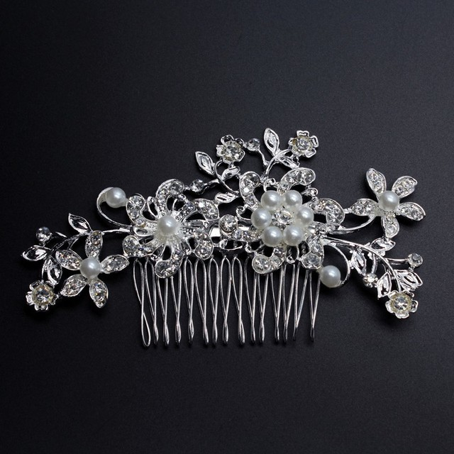 Charm Flower Rhinestone Hair Slide Floral Crystal Bridal Head Piece Pearls Wedding Hair Comb For Bridesmaid Jewelry Accessories