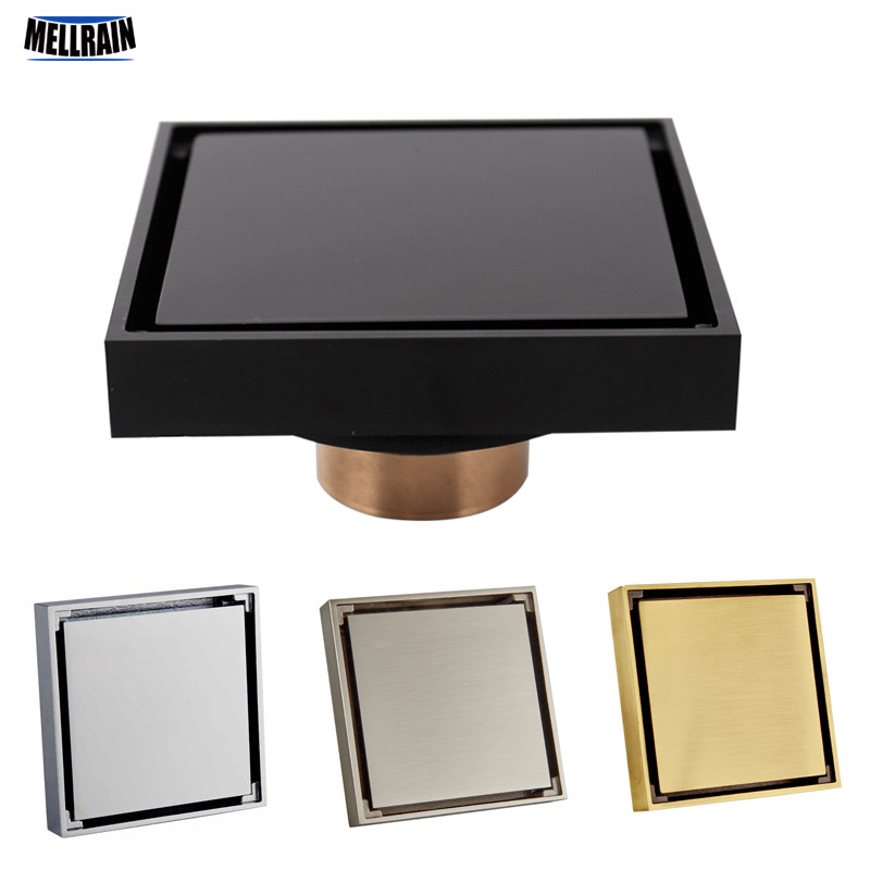 100% Solid Brass Square Bathroom Shower Floor Drain Tile Insert Invisible Water Filter Black Gold Chrome Nickel Brushed