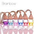 Brainbow 1pc 6ml Glass Car Perfume Bottle with Wood Cap Empty Refillable Bottle Hanging Cute Air Freshener Carrier Free Funnel