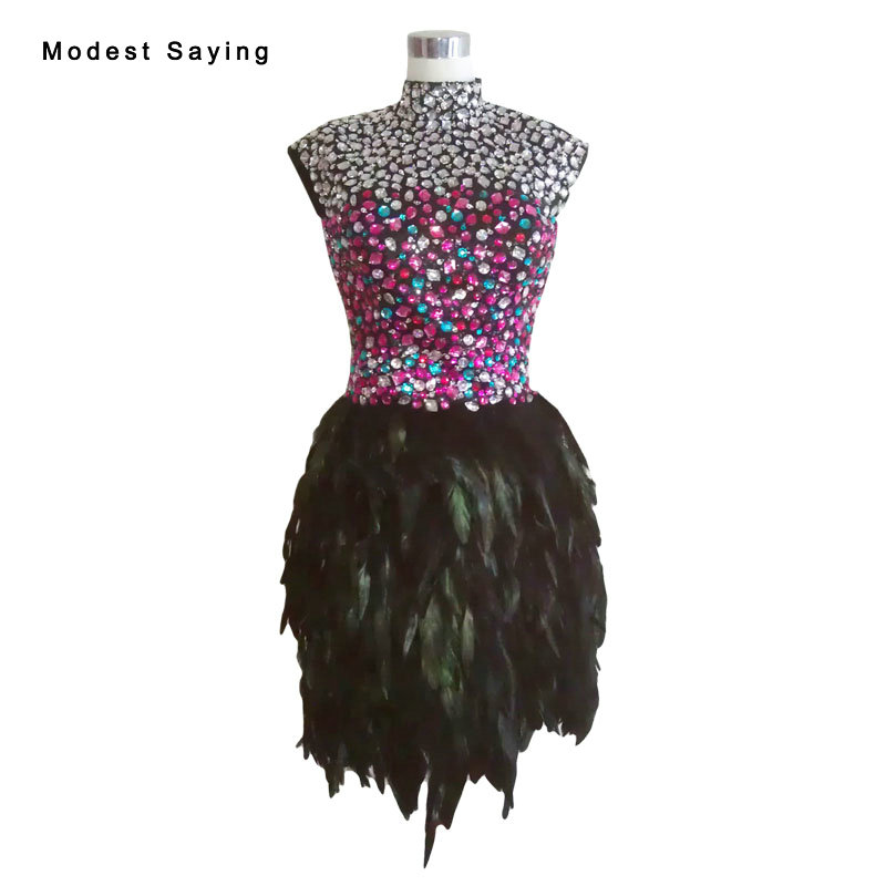 Real Luxury Black Straight High Neck Crystal Feather Party Cocktail Dresses 2017 Women Mini Prom Gowns robe de cocktail YC11