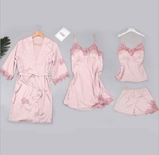 Fdfklak комплект из 4 предметов, сексуальные женские шелковые пижамы, кружевные весенне-осенние халаты, шорты, летние женские пижамы mujer