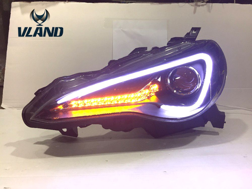 VLAND manufacturer for Car head lamp for GT86 FT86 LED Headlight 2012 2016 GT86 FT86 Headlight with H7 Xenon lamp and Day light vland 2pcs car light led headlight for jetta headlight 2011 2012 2013 2014 demon eyes head lamp