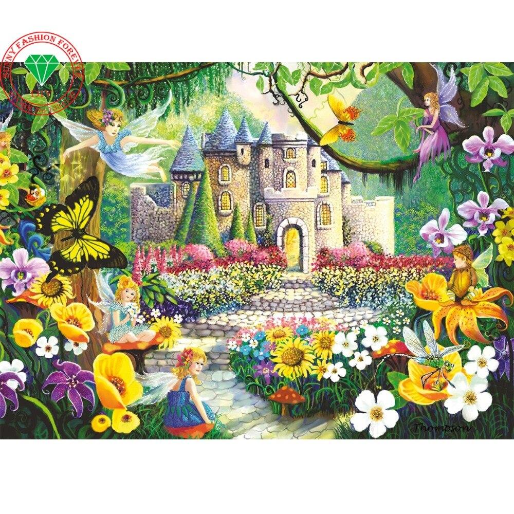ᐃDiy 3d diamond bordado paisaje Flores castillo paisaje punto de ...