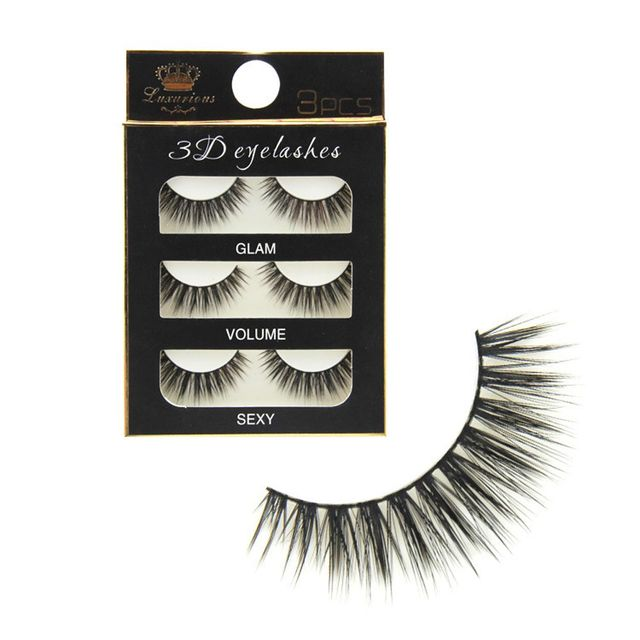 3 pairs Handmade Thick Cross Natural False Eyelashes 3D Winged Mid Long Fake Eye Lashes Extension Beauty Makeup Tools False Eyelashes