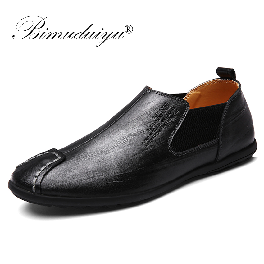 BIMUDUIYU Luxury Brand Fashion Men Casual Shoes Slip On Leather Men Shoes Loafers Moccasins Soft Breathable Flats Driving Shoes 2017 new men s casual shoes fashion slip on men pu shoes creepers flats leisure shoes breathable loafers moccasins spring autumn