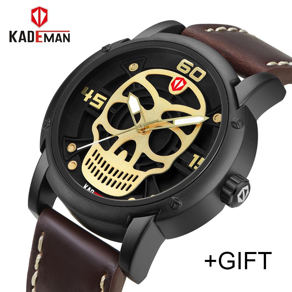 KADEMAN Fashion Mens Watches Men Skull Men Antique Sports Leather watch Military Wristwatch Waterproof Relogio Masculino