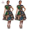 BRW 2016 Африка Базен Riche Ткань Воск Печати Платья Dashiki плюс Размер Африка Стиль Дизайн Одежды для Женщин Office Dress WY082