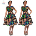 BRW 2016 Africa Bazin Riche Fabric Wax Print Dresses Dashiki Plus Size Africa Style Design Clothing for Women Office Dress WY082