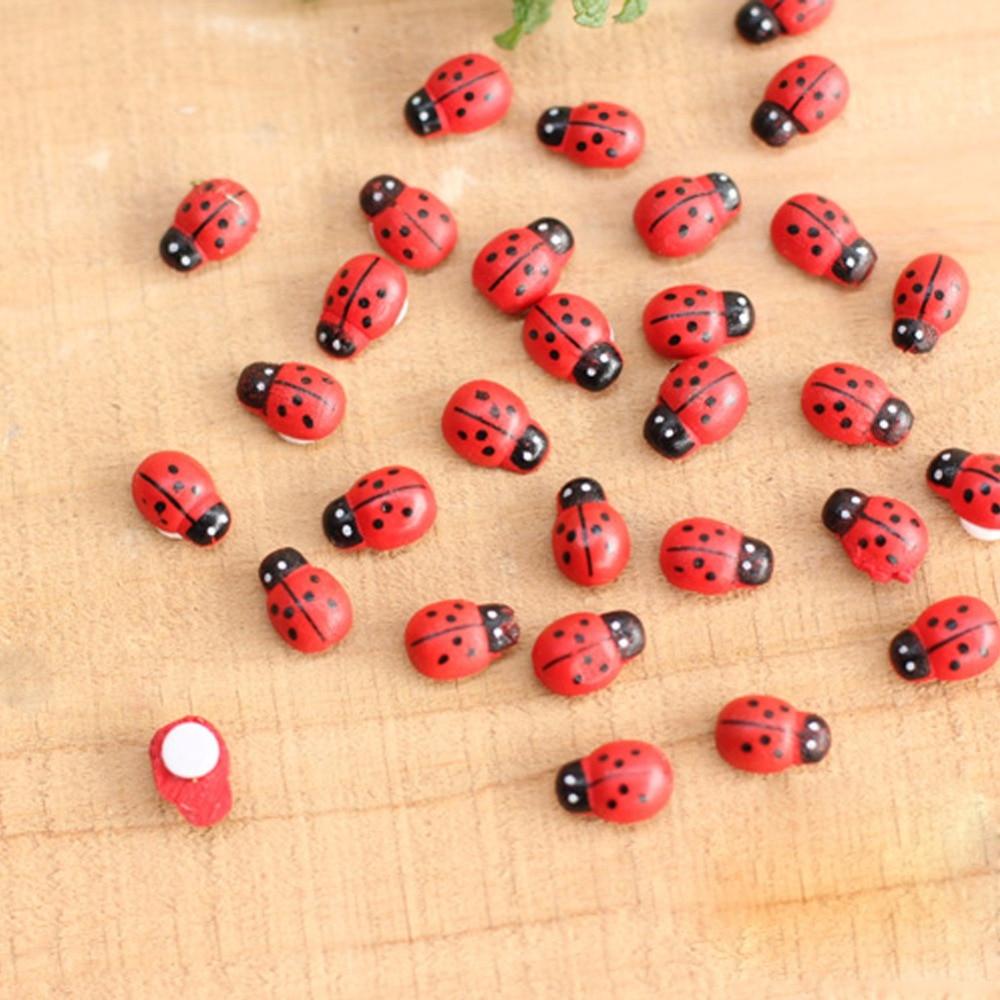 2019 10Pcs Mini Ladybird Red Beetle Ladybug Fairy Doll House Garden Decor Ornament