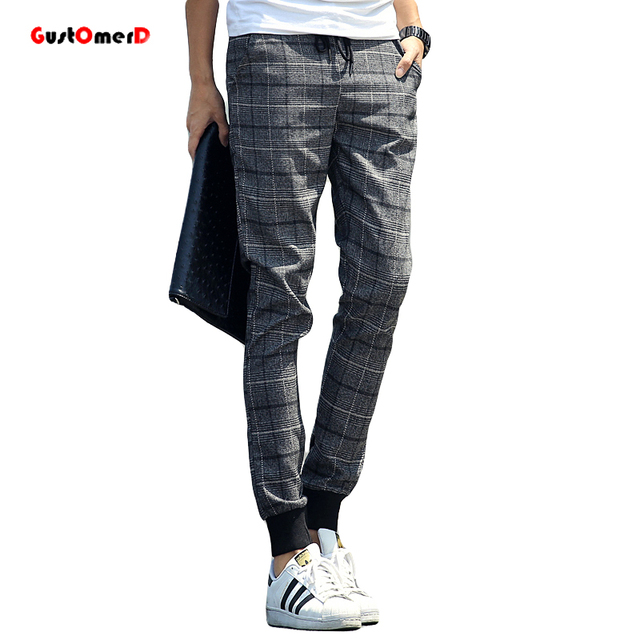 2017 Hot Sale Plaid Men Style Pants Sweatpants Plaid Joggers CustomerD Pants Men Pantalones Hombre Mens Pants