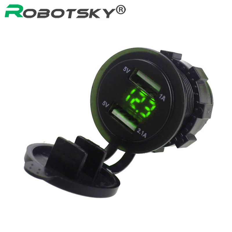 Voltmeter Power-Adapter-Socket Truck Usb-Car-Charger Motorcycle 5v 2.1a With 12V Led