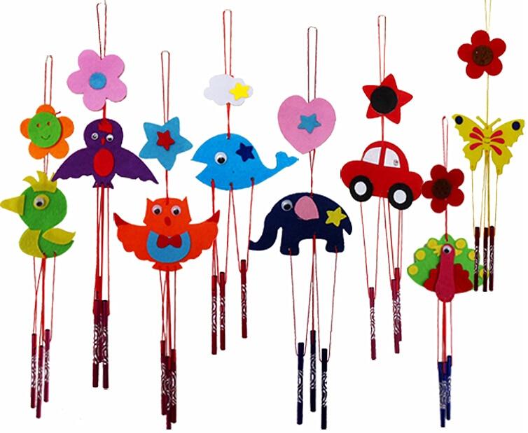 Diy campanula wind chime kids children kindergarten manual for Homemade wind chimes for kids