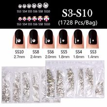 1728 pièces/sac 3D paillettes Strass cristal AB SS3-SS10 8 tailles un sac ongles Strass Strass gemme Nail Art décoration(China)