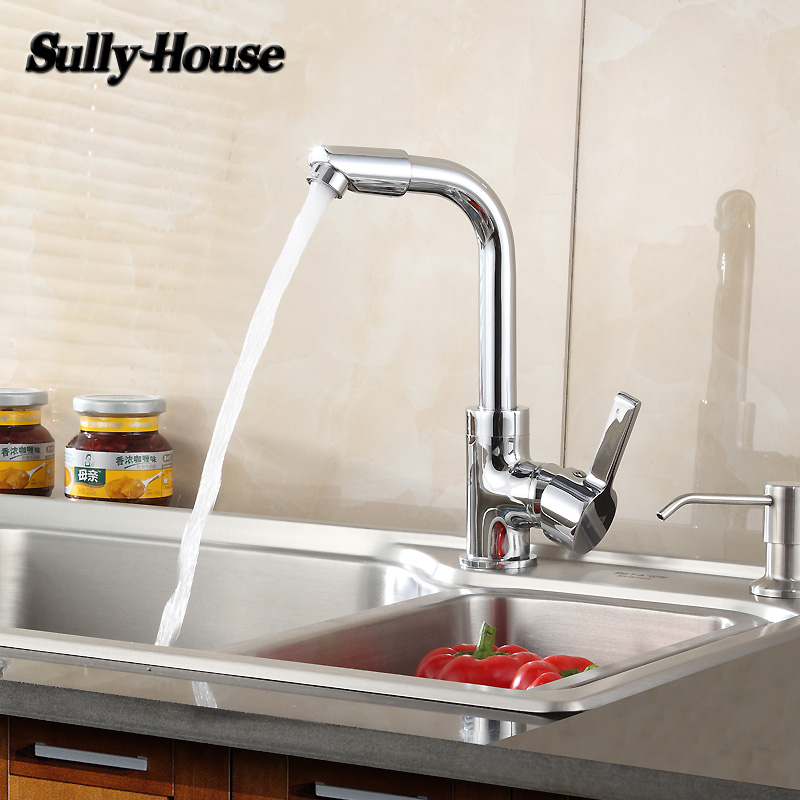 Sully House High quality Brass Kitchen Sink Faucet Faucets Triangle valve Hoses Hot and Cold Water