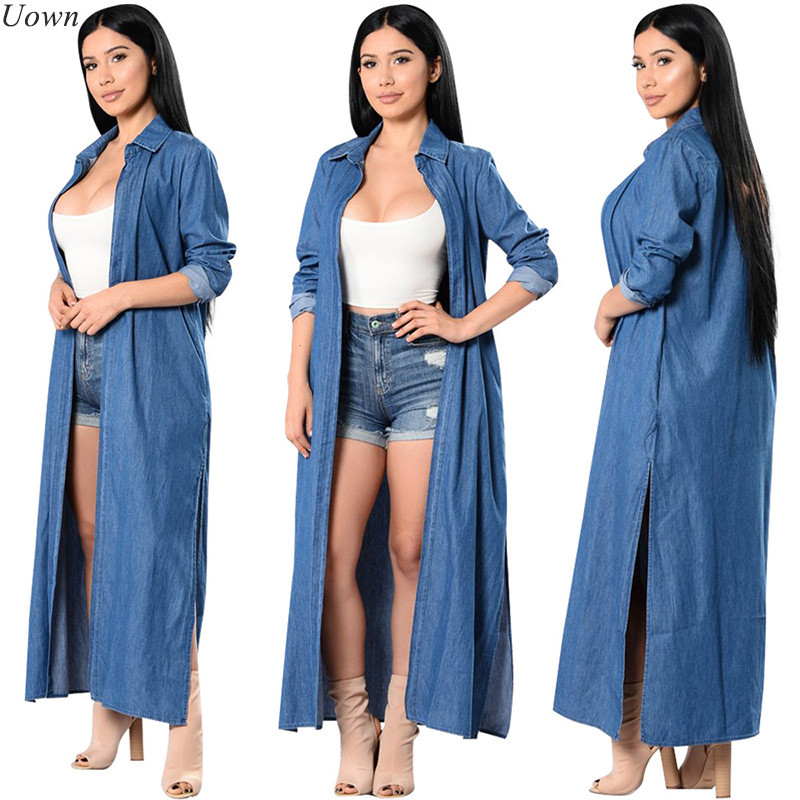 Fashion Women Vintage Open Stitch Long Denim   Trench   Coats Ladies Turn-Down Collar Jeans Casual Loose Windbreaker Outwear Female