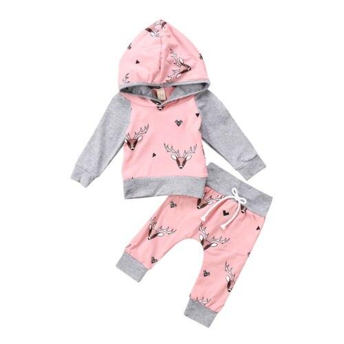 Милые Одежда для новорожденных мальчиков и девочек Олень с капюшоном топы, штаны 2 шт. толстовки наряды комплект Костюмы 0-24 м