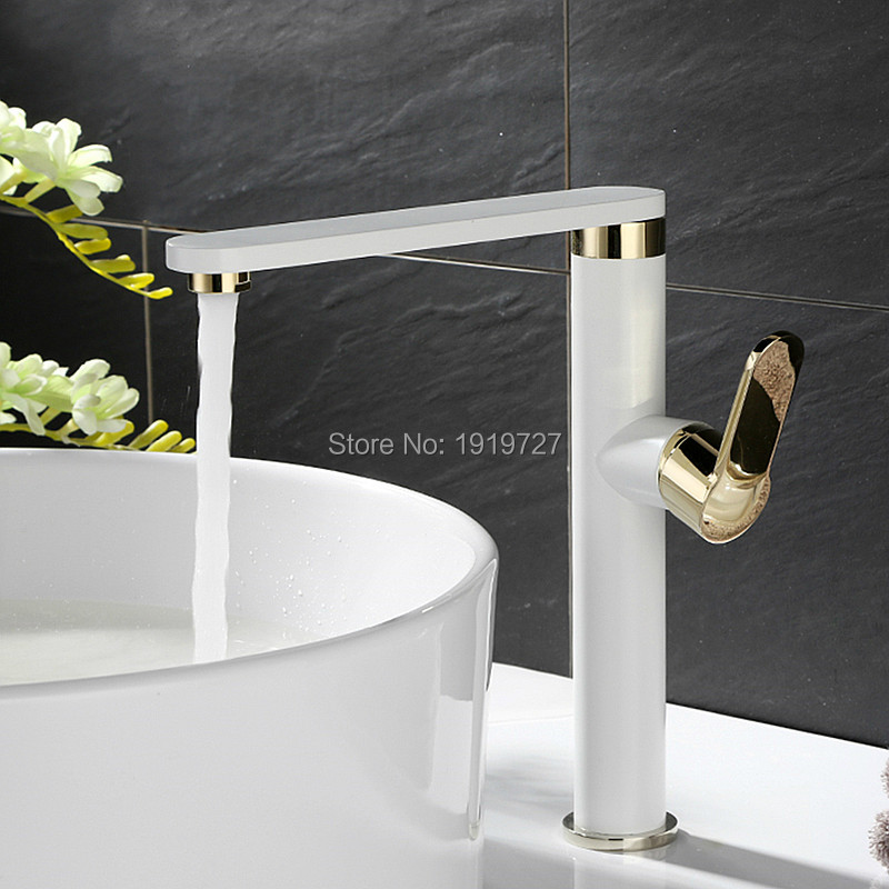 Здесь можно купить  100% Brass Factory Direct Russia Style White&Gold 360 Design Luxurious Single Holder Hole Bathroom 6 Star Wels Basin Mixer Tap  Строительство и Недвижимость
