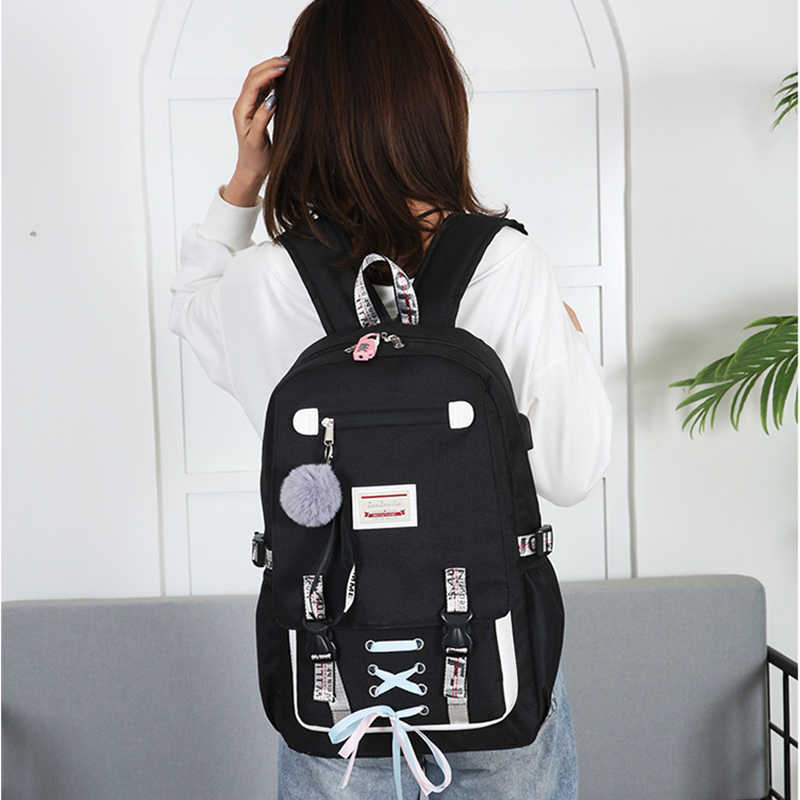 green School Bags for Girls Women Bag for School Backpack USB Teenage Nylon Solid Teen Schoolbag Girl Black Large Capacity New