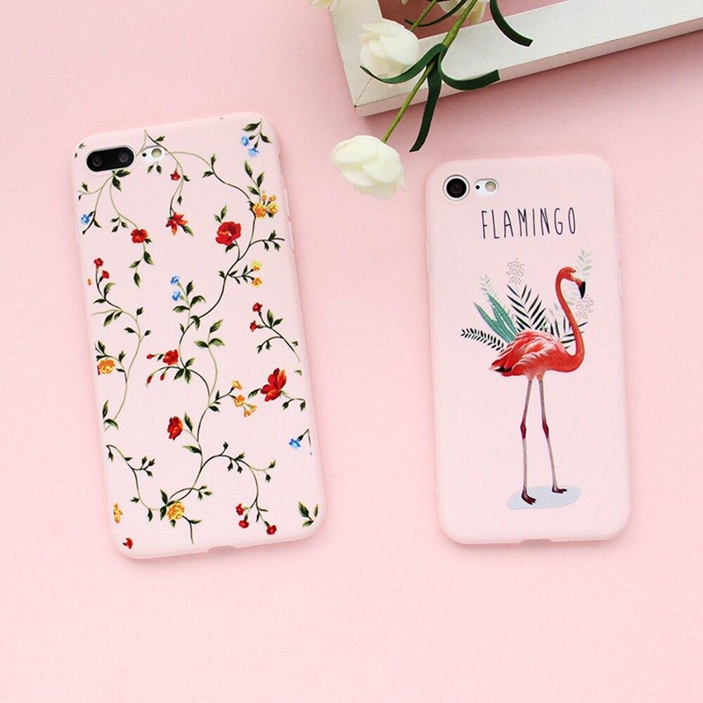 Flamingo Pattern Matte Phone Iphone X 8 7 6S 6 Plus Cases Plain Cartoon Back Cover Cute Soft Shell