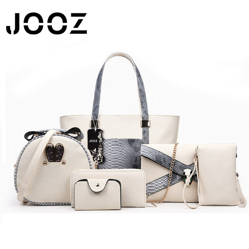 JOOZ Brand Luxury 6 Pcs Set Serpentine Shoulder Woman Bag Female Crossbody Bags Lady Handbag Coin Purse Day Clutch Tote Wallet jooz brand luxury belts solid pu leather women handbag 3 pcs composite bags set female shoulder crossbody bag lady purse clutch