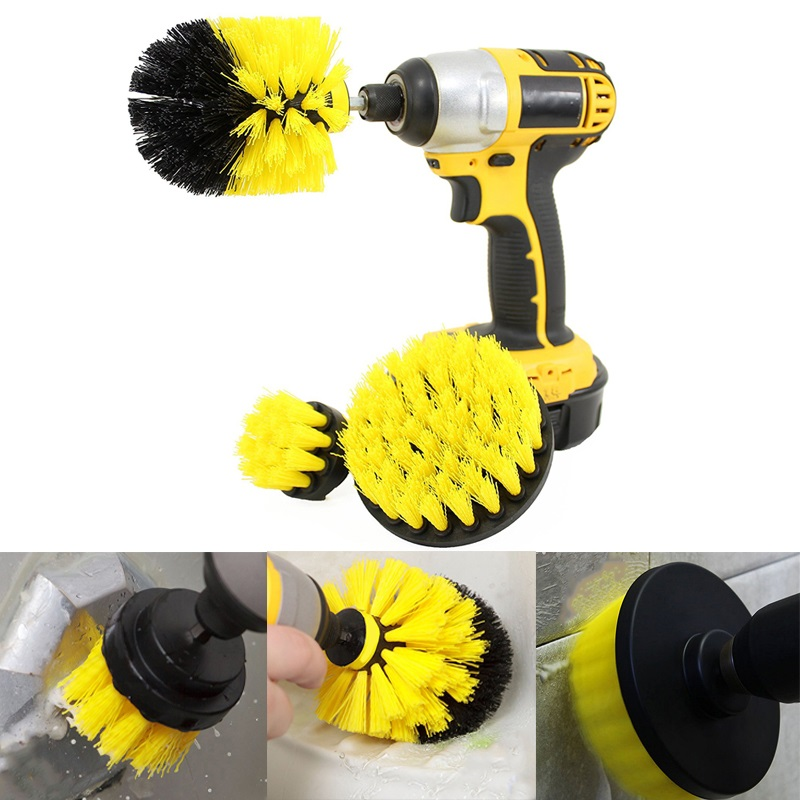 3 Pcs Power Scrub Brush Drill Cleaning Brush For Bathroom Shower Tile Grout Cordless Power Scrubber